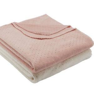 Accessories - Set of 2 gold pot pink cream soft throw blankets
